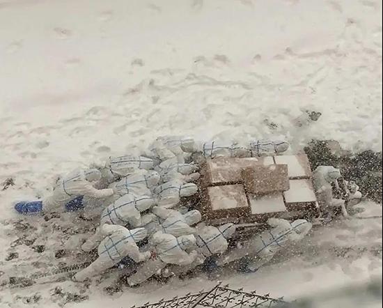 大连海洋大学师生志愿者推车送防疫物资,风中身影温暖大连
